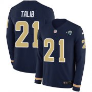 Wholesale Cheap Nike Rams #21 Aqib Talib Navy Blue Team Color Men's Stitched NFL Limited Therma Long Sleeve Jersey