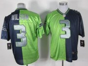 Wholesale Cheap Nike Seahawks #3 Russell Wilson Steel Blue/Green Men's Stitched NFL Elite Split Jersey