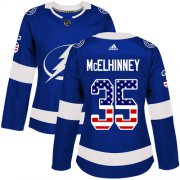Cheap Adidas Lightning #35 Curtis McElhinney Blue Home Authentic USA Flag Women's Stitched NHL Jersey