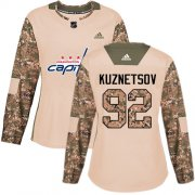 Wholesale Cheap Adidas Capitals #92 Evgeny Kuznetsov Camo Authentic 2017 Veterans Day Women's Stitched NHL Jersey