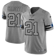 Wholesale Cheap Dallas Cowboys #21 Ezekiel Elliott Men's Nike Gray Gridiron II Vapor Untouchable Limited NFL Jersey