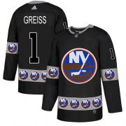 Wholesale Cheap Adidas Islanders #1 Thomas Greiss Black Authentic Team Logo Fashion Stitched NHL Jersey