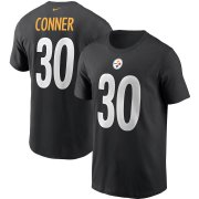 Wholesale Cheap Pittsburgh Steelers #30 James Conner Nike Team Player Name & Number T-Shirt Black
