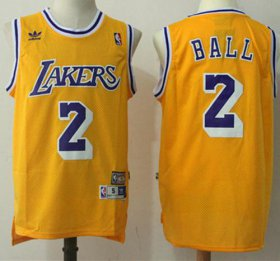 Wholesale Cheap Los Angeles Lakers #2 Lonzo Ball Yellow Throwback Stitched NBA Jersey