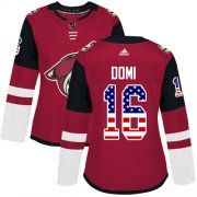 Wholesale Cheap Adidas Coyotes #16 Max Domi Maroon Home Authentic USA Flag Women's Stitched NHL Jersey