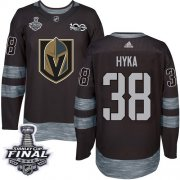 Wholesale Cheap Adidas Golden Knights #38 Tomas Hyka Black 1917-2017 100th Anniversary 2018 Stanley Cup Final Stitched NHL Jersey