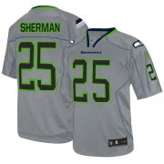 Wholesale Cheap Nike Seahawks #25 Richard Sherman Lights Out Grey Men's Stitched NFL Elite Jersey