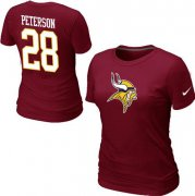 Wholesale Cheap Women's Nike Minnesota Vikings #28 Adrian Peterson Name & Number T-Shirt Red
