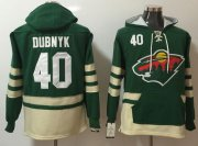 Wholesale Cheap Wild #40 Devan Dubnyk Green Name & Number Pullover NHL Hoodie