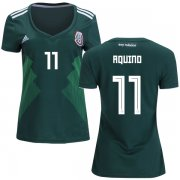Wholesale Cheap Women's Mexico #11 Aquino Home Soccer Country Jersey