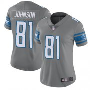 Wholesale Cheap Nike Lions #81 Calvin Johnson Gray Women's Stitched NFL Limited Rush Jersey