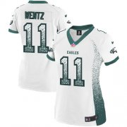 Wholesale Cheap Nike Eagles #11 Carson Wentz White Women's Stitched NFL Elite Drift Fashion Jersey