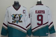 Wholesale Cheap Ducks #9 Paul Kariya White CCM Throwback Stitched NHL Jersey