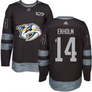 Wholesale Cheap Adidas Predators #14 Mattias Ekholm Black 1917-2017 100th Anniversary Stitched NHL Jersey