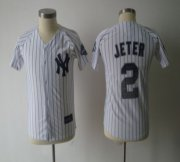 Wholesale Yankees #2 Derek Jeter White Stitched Special Edition w/3000 Hits Patch Youth Baseball Jersey