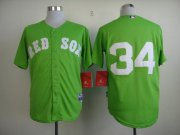 Wholesale Cheap Red Sox #34 David Ortiz Green Cool Base Stitched MLB Jersey