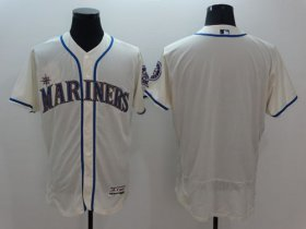 Wholesale Cheap Mariners Blank Cream Flexbase Authentic Collection Stitched MLB Jersey