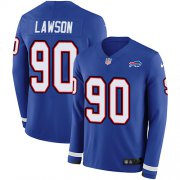Wholesale Cheap Nike Bills #90 Shaq Lawson Royal Blue Team Color Men's Stitched NFL Limited Therma Long Sleeve Jersey