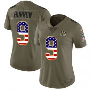 Wholesale Cheap Nike Bengals #9 Joe Burrow Olive/USA Flag Women's Stitched NFL Limited 2017 Salute To Service Jersey