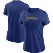 Wholesale Cheap Seattle Mariners Nike Women's Cooperstown Collection Wordmark T-Shirt Royal