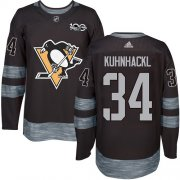 Wholesale Cheap Adidas Penguins #34 Tom Kuhnhackl Black 1917-2017 100th Anniversary Stitched NHL Jersey