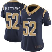 Wholesale Cheap Nike Rams #52 Clay Matthews Navy Blue Team Color Women's Stitched NFL Vapor Untouchable Limited Jersey