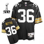 Wholesale Cheap Steelers #36 Jerome Bettis Black Super Bowl XLV Stitched NFL Jersey