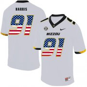 Wholesale Cheap Missouri Tigers 91 Charles Harris White USA Flag Nike College Football Jersey