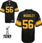 Wholesale Cheap Steelers #56 LaMarr Woodley Black With Yellow Number Super Bowl XLV Stitched NFL Jersey