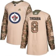 Wholesale Cheap Adidas Jets #8 Jacob Trouba Camo Authentic 2017 Veterans Day Stitched NHL Jersey