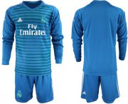 Wholesale Cheap Real Madrid Blank Blue Goalkeeper Long Sleeves Soccer Club Jersey