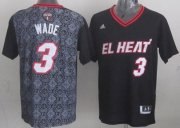 Wholesale Cheap Miami Heat #3 Dwyane Wade Revolution 30 Swingman 2014 Noche Latina Black Jersey