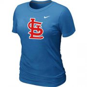 Wholesale Cheap Women's St.Louis Cardinals Heathered Nike Light Blue Blended T-Shirt