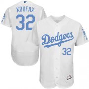 Wholesale Cheap Dodgers #32 Sandy Koufax White Flexbase Authentic Collection Father's Day Stitched MLB Jersey