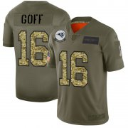 Wholesale Cheap Los Angeles Rams #16 Jared Goff Men's Nike 2019 Olive Camo Salute To Service Limited NFL Jersey