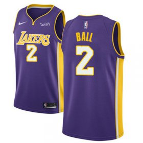 Wholesale Cheap Nike Los Angeles Lakers #2 Lonzo Ball Purple NBA Swingman Statement Edition Jersey