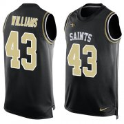 Wholesale Cheap Nike Saints #43 Marcus Williams Black Team Color Men's Stitched NFL Limited Tank Top Jersey
