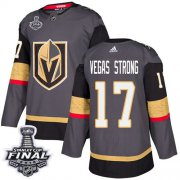 Wholesale Cheap Adidas Golden Knights #17 Vegas Strong Grey Home Authentic 2018 Stanley Cup Final Stitched Youth NHL Jersey