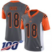Wholesale Cheap Nike Bengals #18 A.J. Green Silver Men's Stitched NFL Limited Inverted Legend 100th Season Jersey