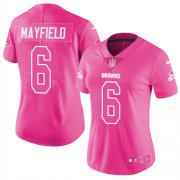 Wholesale Cheap Nike Browns #6 Baker Mayfield Pink Women's Stitched NFL Limited Rush Fashion Jersey