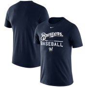Wholesale Cheap Milwaukee Brewers Nike Wordmark Practice T-Shirt Navy