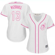 Wholesale Cheap Indians #13 Omar Vizquel White/Pink Fashion Women's Stitched MLB Jersey