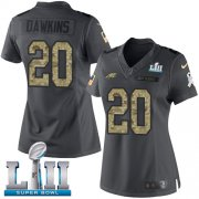 Wholesale Cheap Nike Eagles #20 Brian Dawkins Black Super Bowl LII Women's Stitched NFL Limited 2016 Salute to Service Jersey