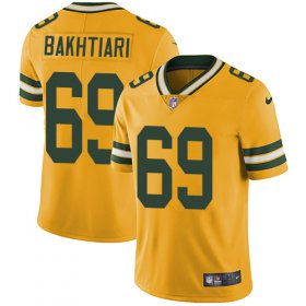 Wholesale Cheap Nike Packers #69 David Bakhtiari Yellow Men\'s Stitched NFL Limited Rush Jersey