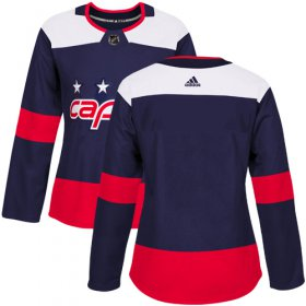 Wholesale Cheap Adidas Capitals Blank Navy Authentic 2018 Stadium Series Women\'s Stitched NHL Jersey