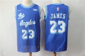 Wholesale Cheap Nike Lakers 23 LeBron James Light Blue Throwback NBA Swingman Jersey