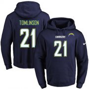 Wholesale Cheap Nike Chargers #21 LaDainian Tomlinson Navy Blue Name & Number Pullover NFL Hoodie