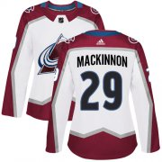 Wholesale Cheap Adidas Avalanche #29 Nathan MacKinnon White Road Authentic Women's Stitched NHL Jersey