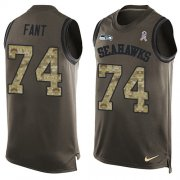 Wholesale Cheap Nike Seahawks #74 George Fant Green Men's Stitched NFL Limited Salute To Service Tank Top Jersey