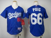 Wholesale Cheap Dodgers #66 Yasiel Puig Blue Cool Base Stitched Youth MLB Jersey